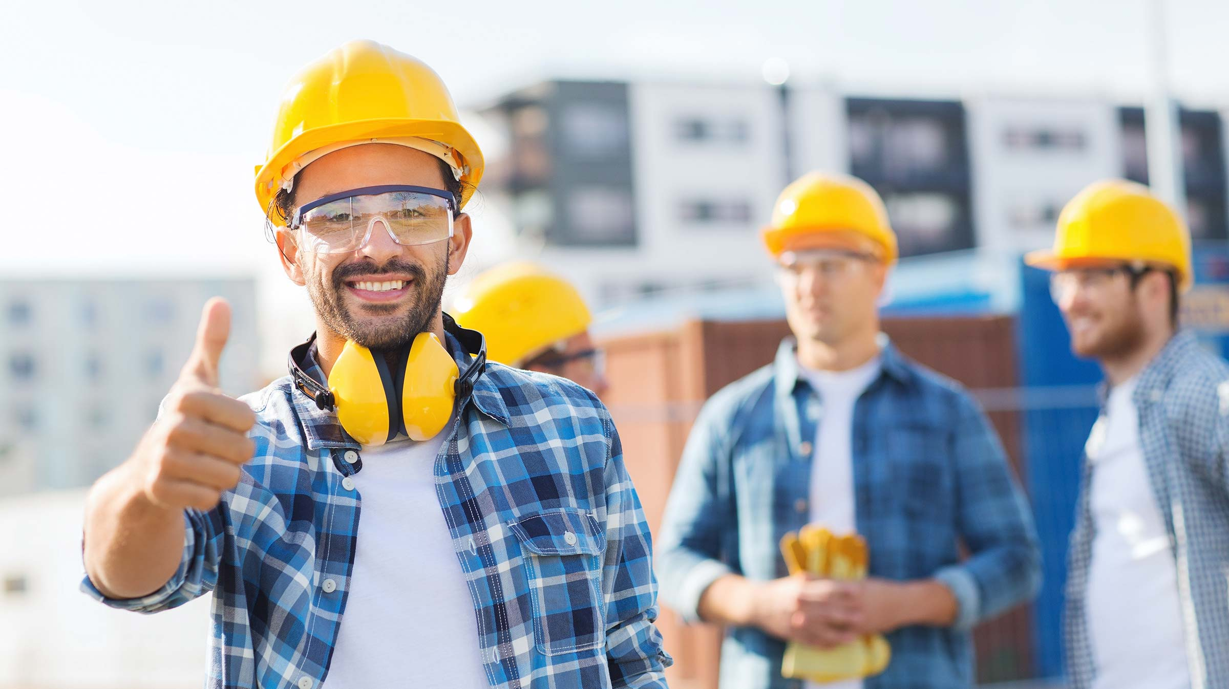 Construction worker giving thumbs up after hiring a Workers' Compensation Lawyer in Pennsylvania