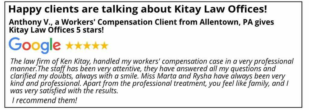 Allentown Workers' Compensation Review for Kitay Law Offices