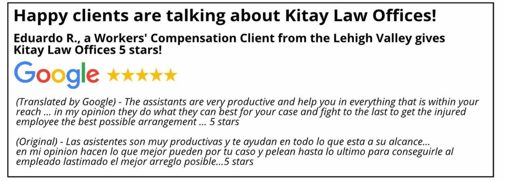 Lehigh Valley Workers' Compensation Review - Kitay Law Offices